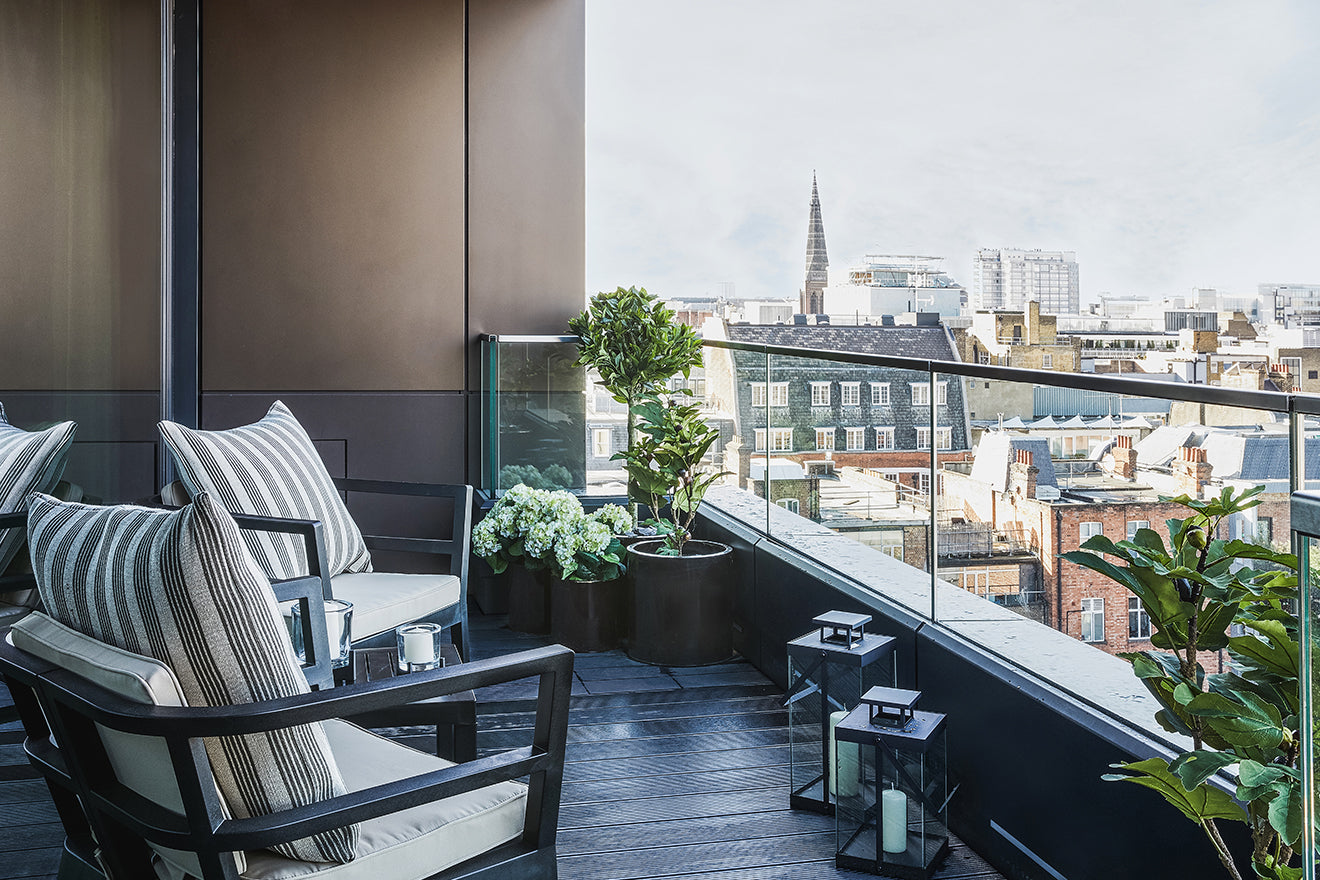 Echlin Studio London Rathbone Square Penthouse Balcony with views across London