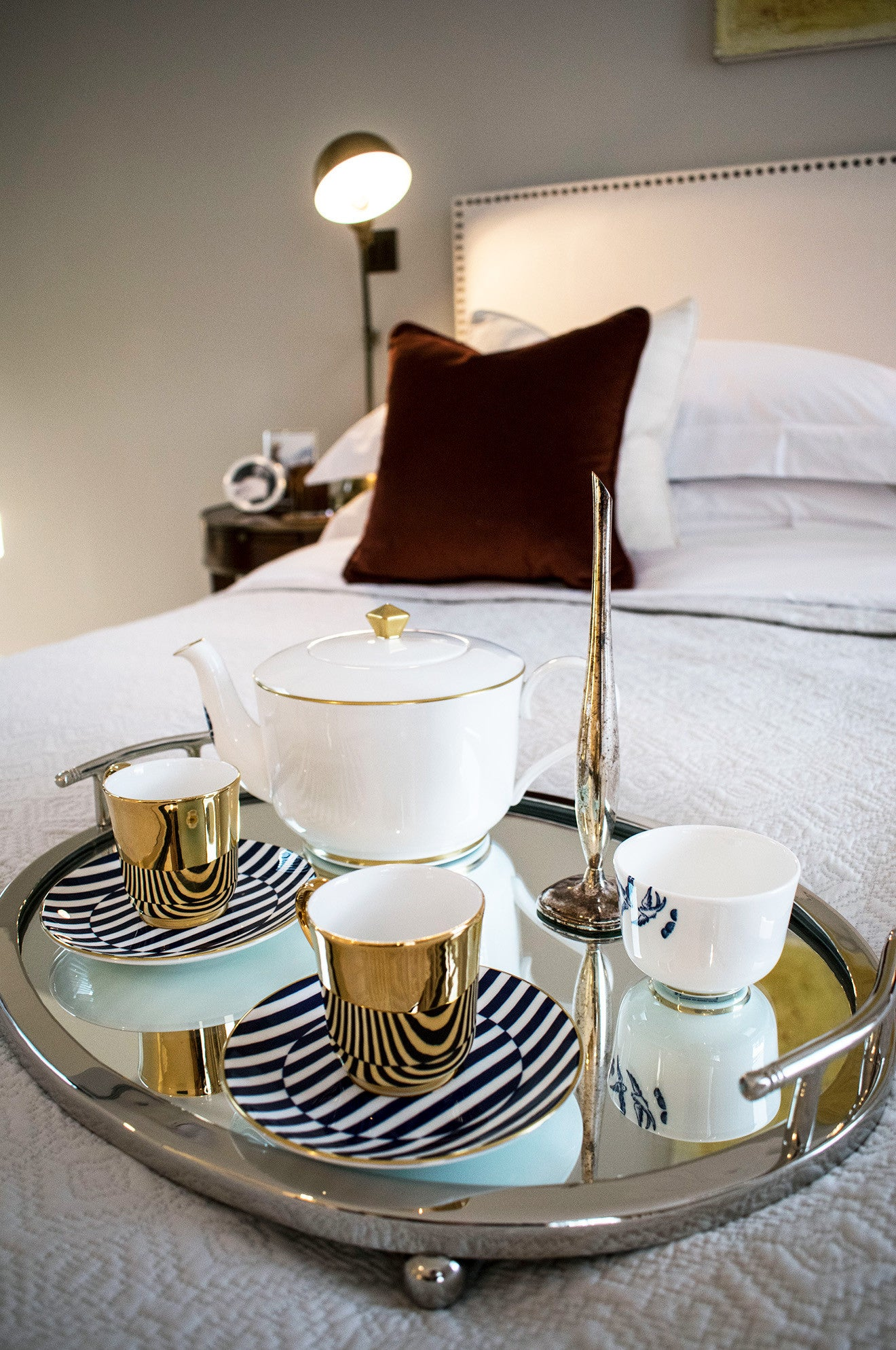 Luxury cream master bedroom with Richard Brendon tea set