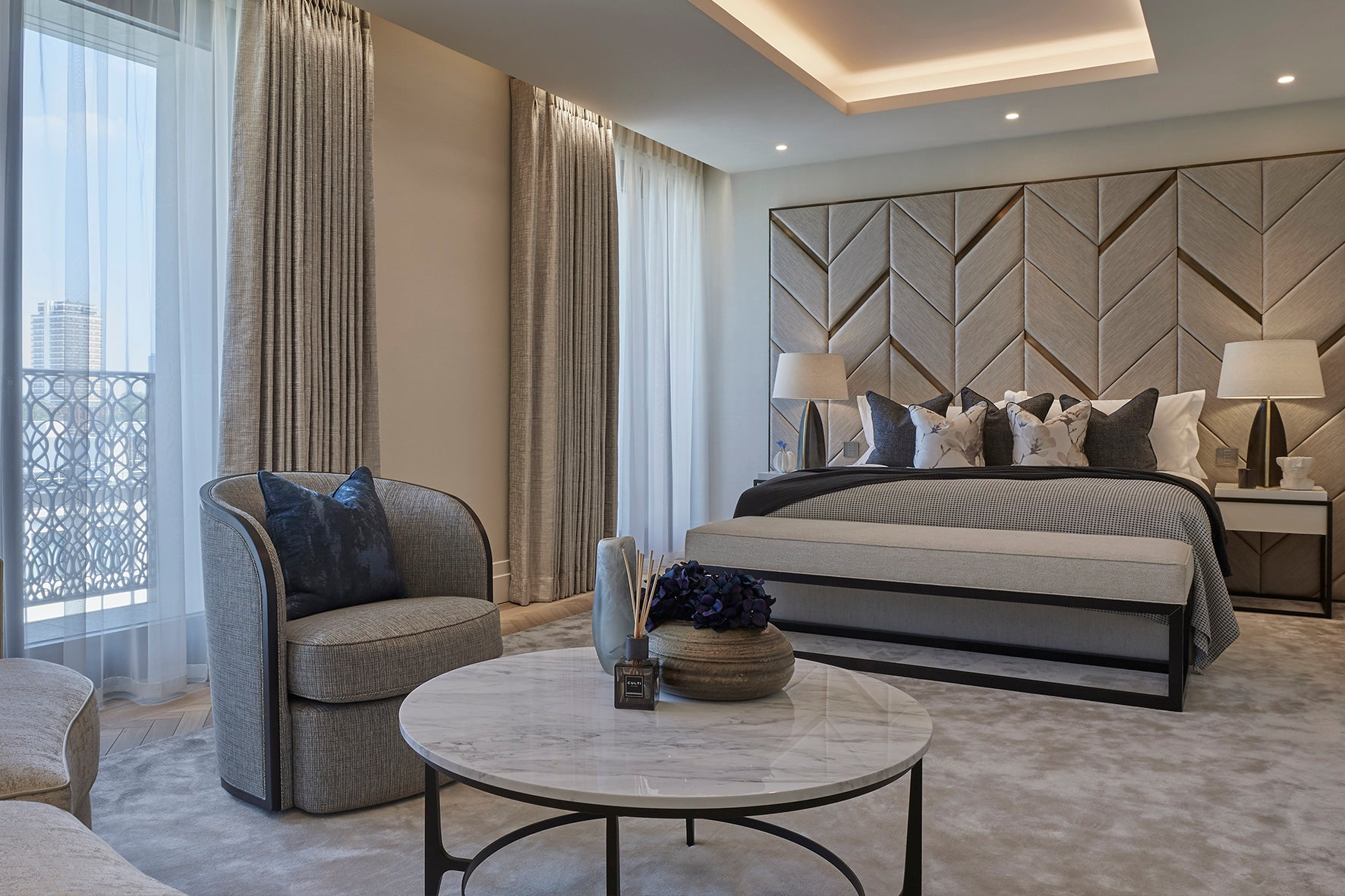Master bedroom - Elicyon design the interiors for the Chelsea Barracks show residence in London