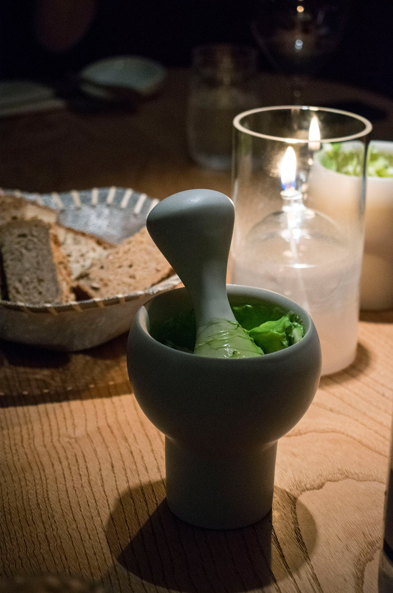 Bread with avocado butter served at Eneko London