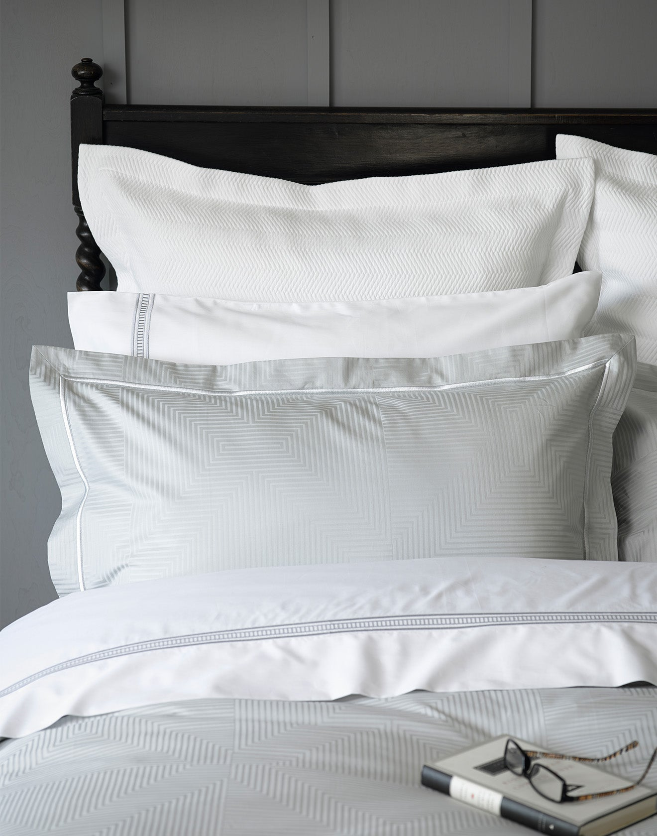 Enigma Silver and white luxury bedding pillows and duvet set from CHristy