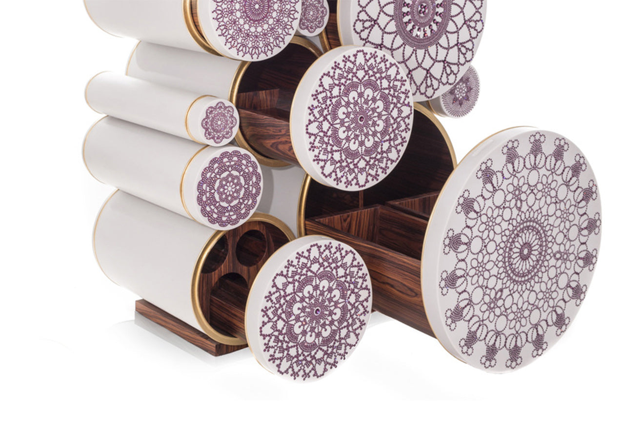 Stacked cylindrical white tube bar with jewel detailing