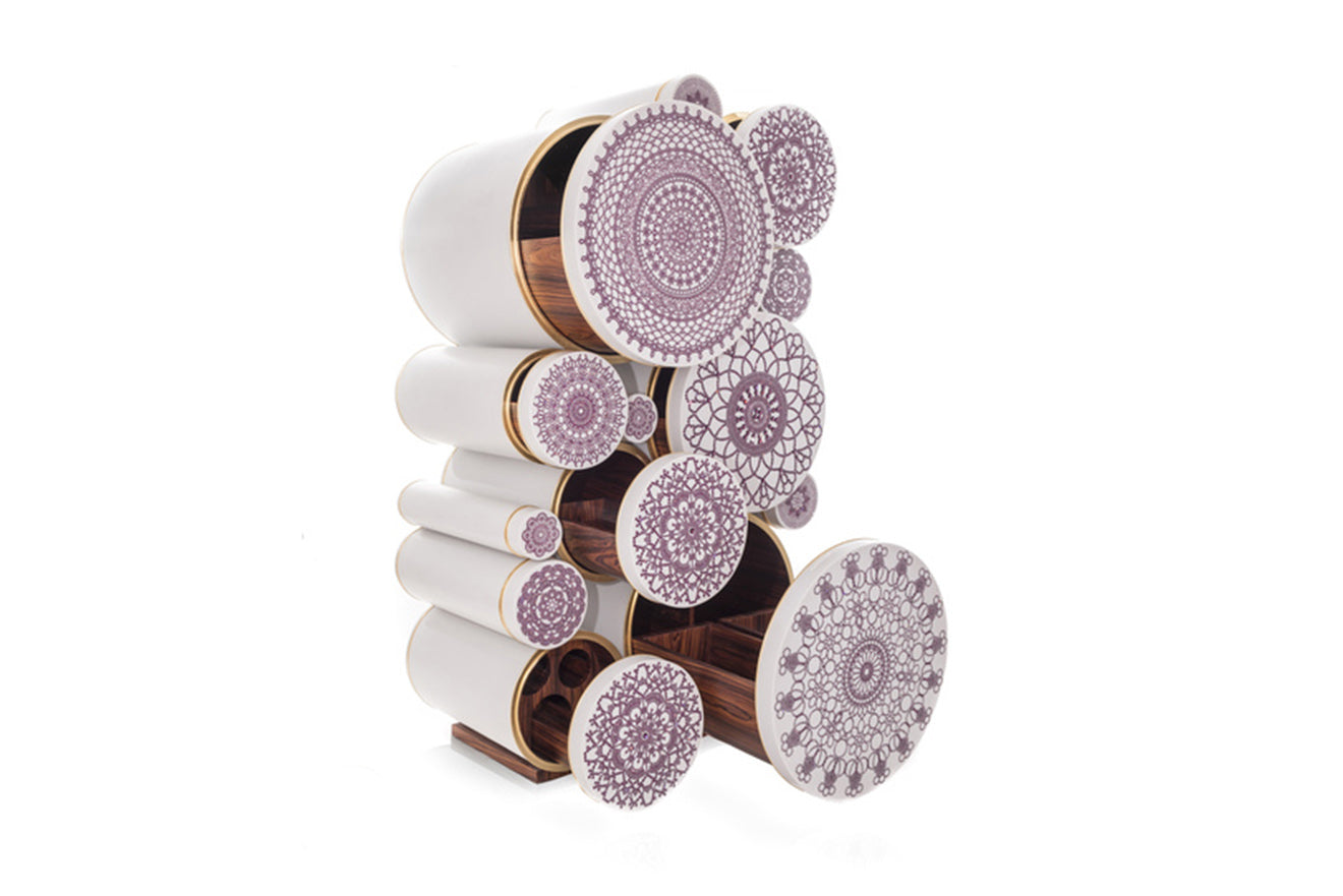 luxury statement bar unit stacked cylindrical tubes with purple pink jewel detailing