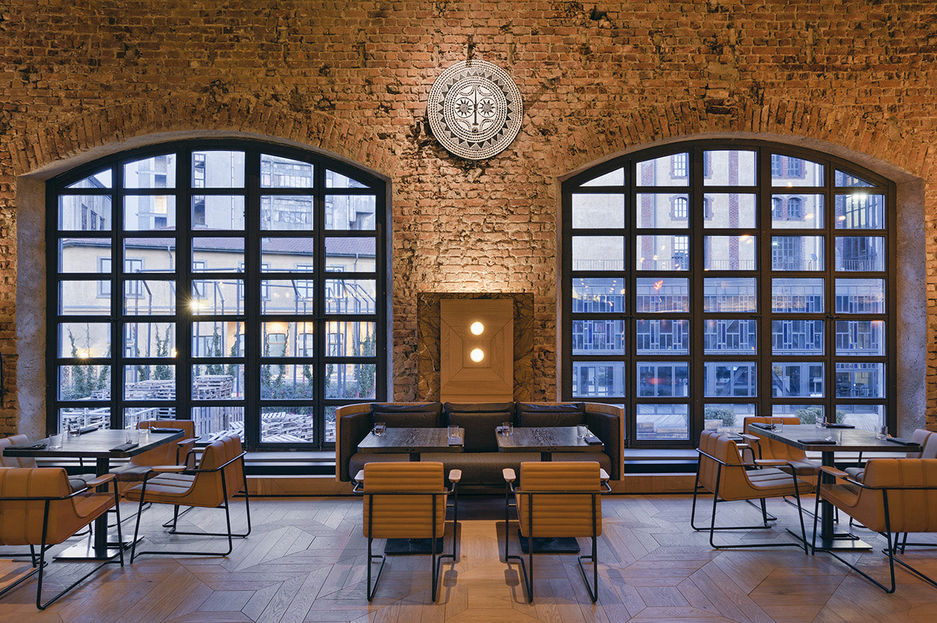 Large industrial arched windows at Kilimanjaro restaurant Istanbul