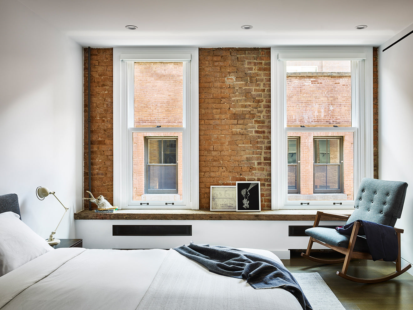 Exposed red brick warehouse apartment New York