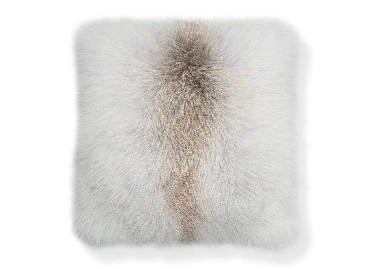 furry luxury fox cushion in white and brown