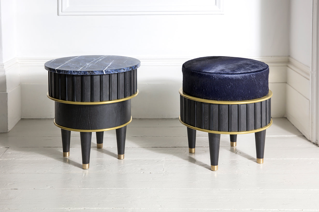 Felice James furniture collaboration Side Table and Upholstered Stool