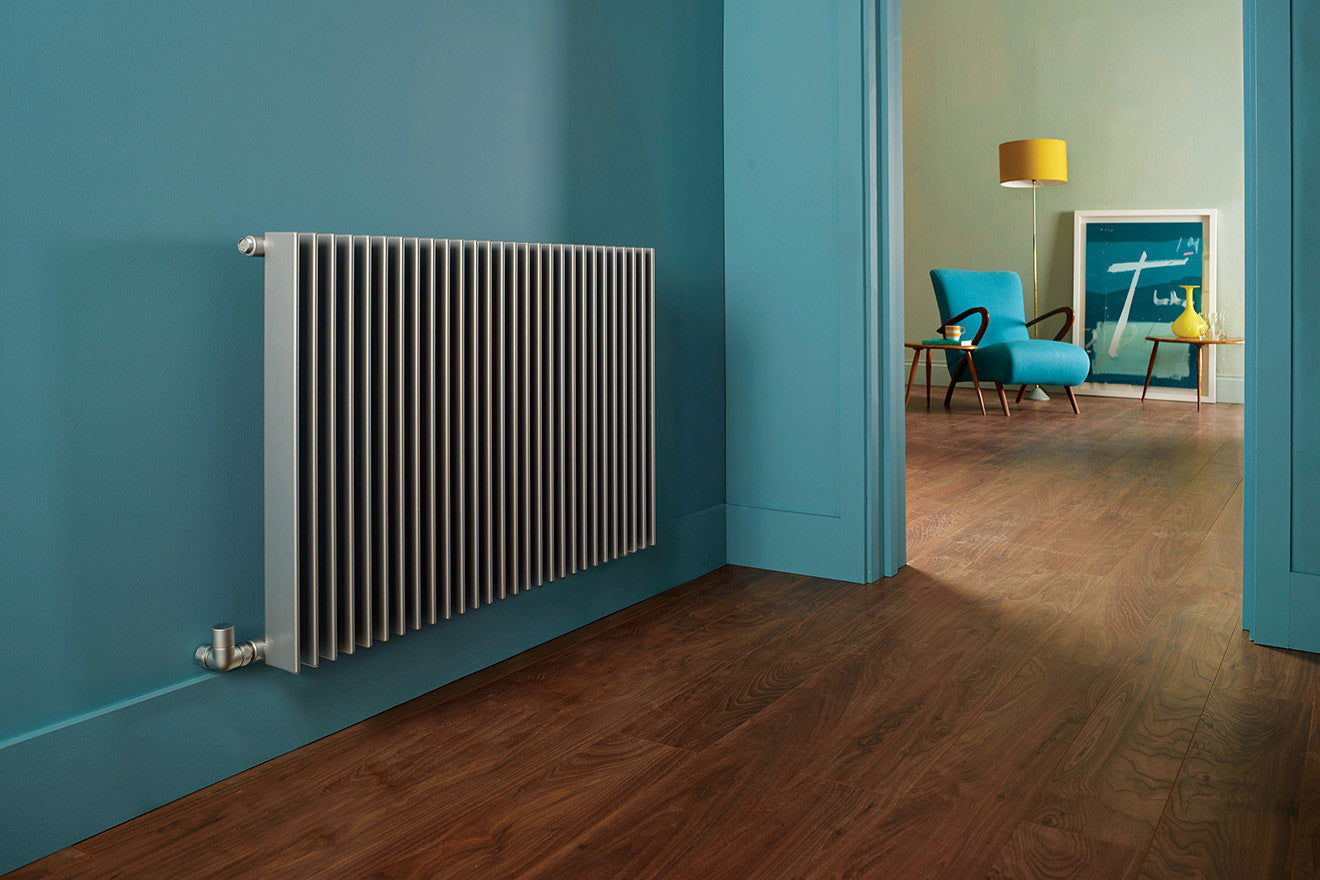 Thin slat aluminium coloured radiator