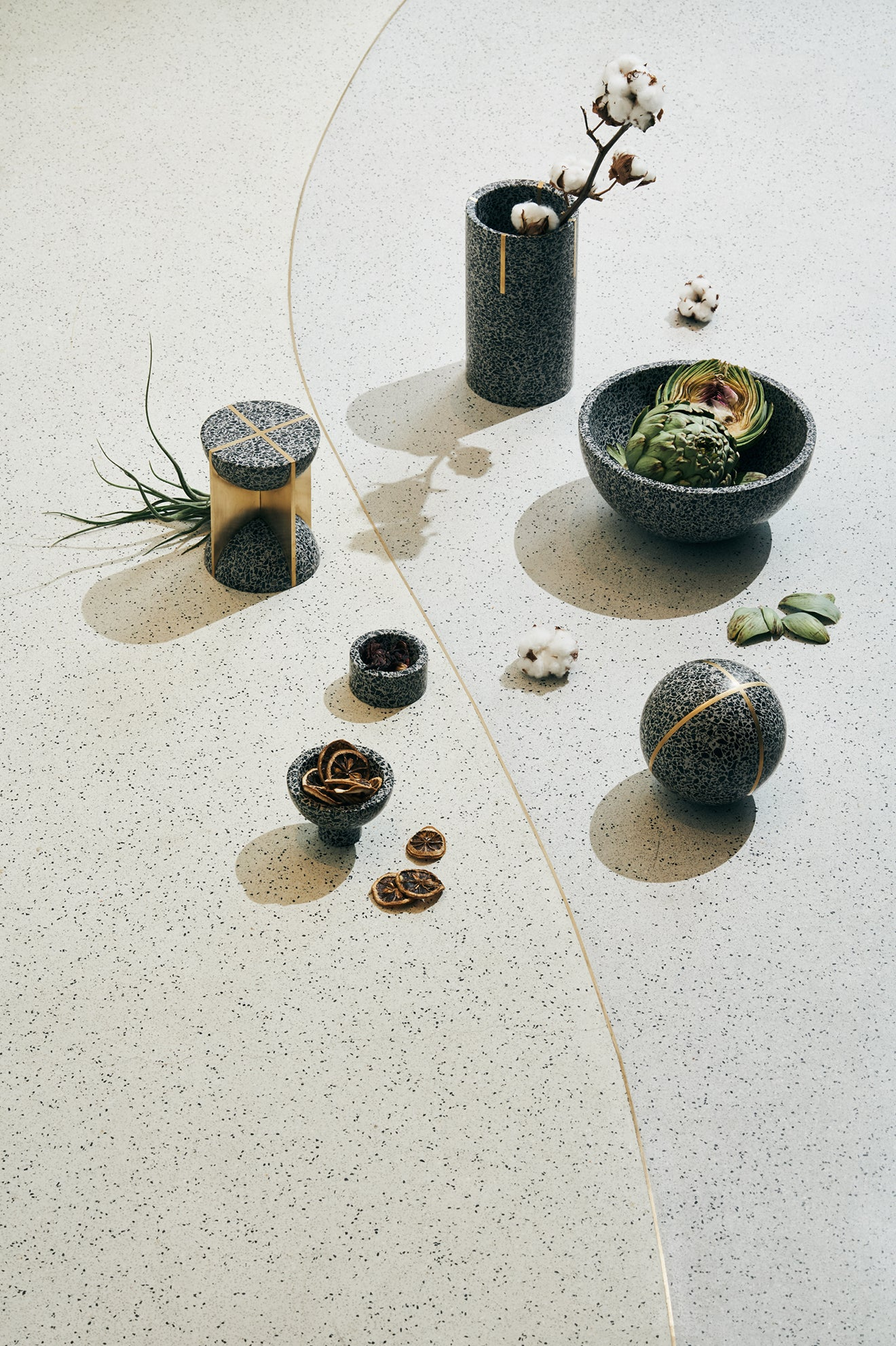 FLINT collection of Terrazzo home accessories by Joyce Wang Studios