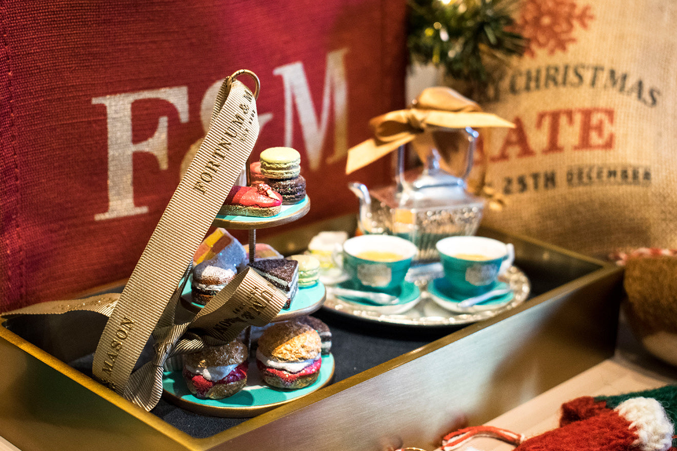 Fortnum and Mason Christmas tree decorations miniature tea and cake
