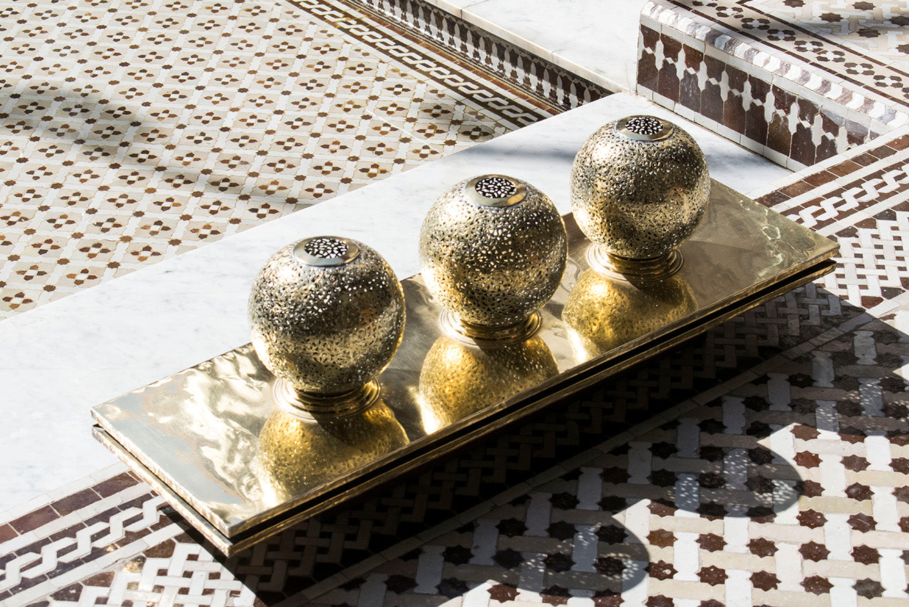Gold Moroccan decorative accessories in the central courtyard
