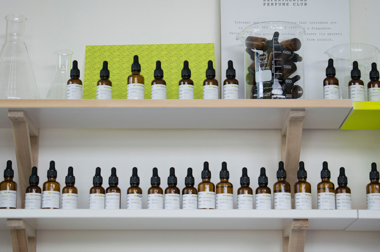 fragrance oils in line at the Experimental Perfume Club Lab