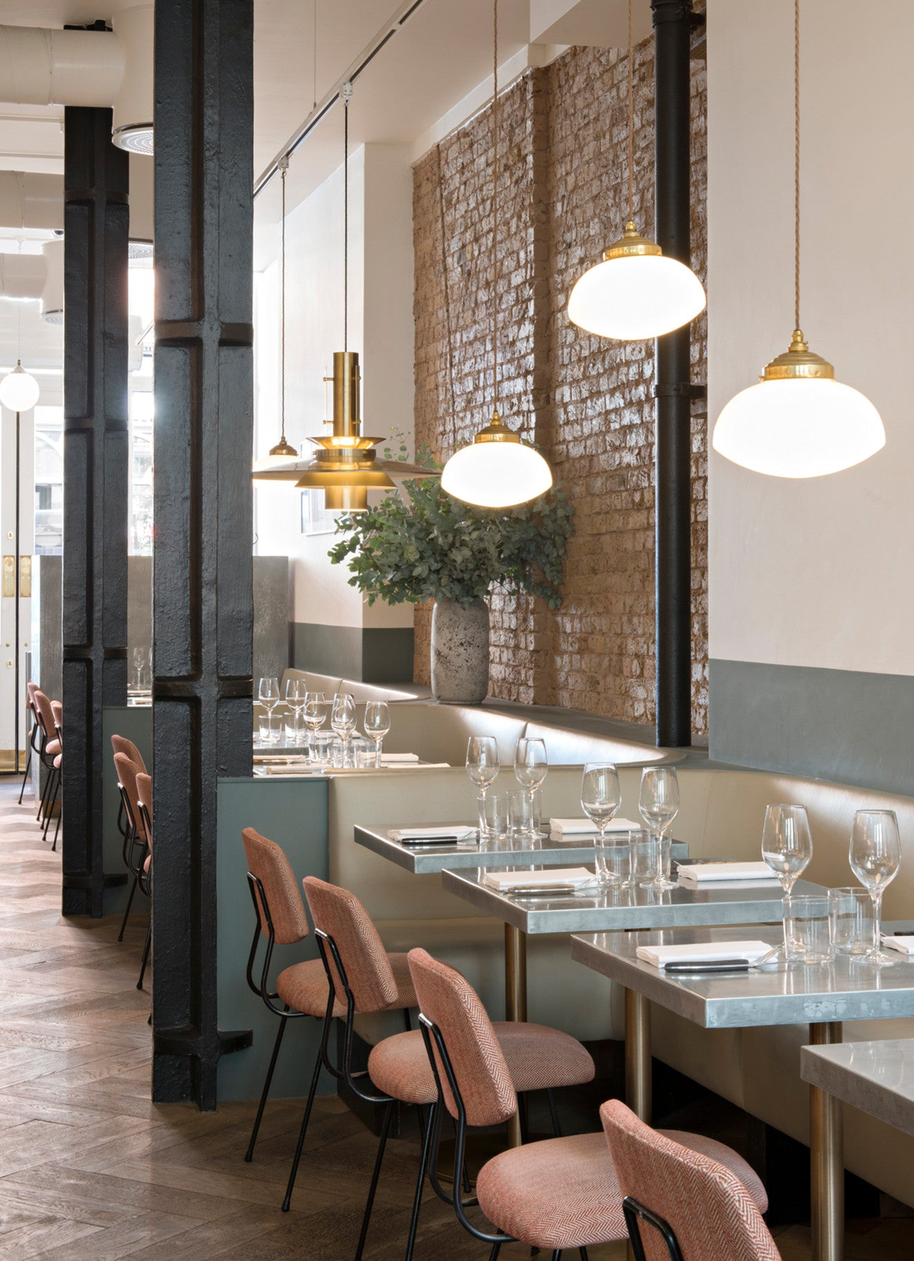 Beautiful brass and glass pendant lighting at Frenchie restaurant, Covent Garden