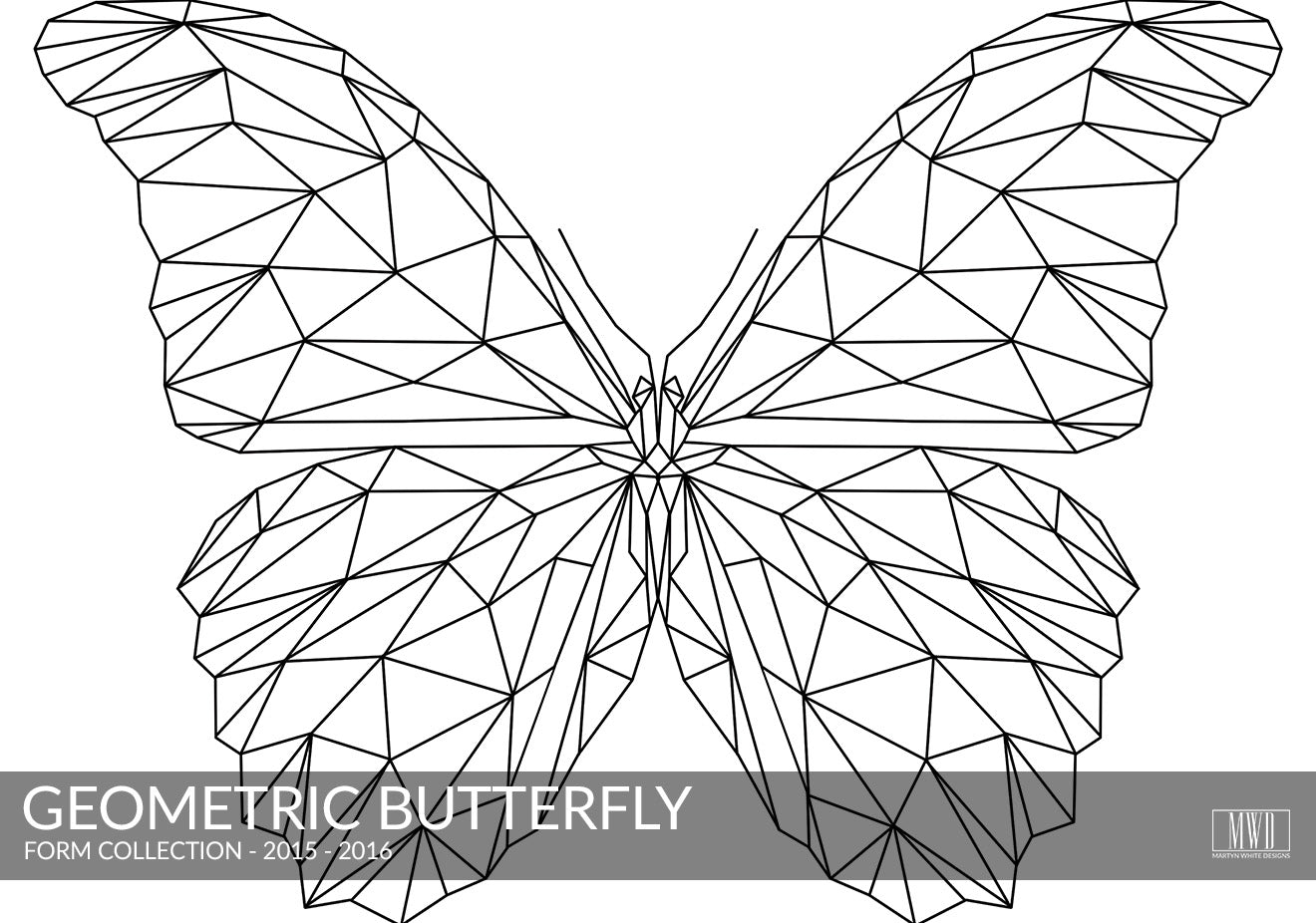 Geometric Butterfly black and White art print