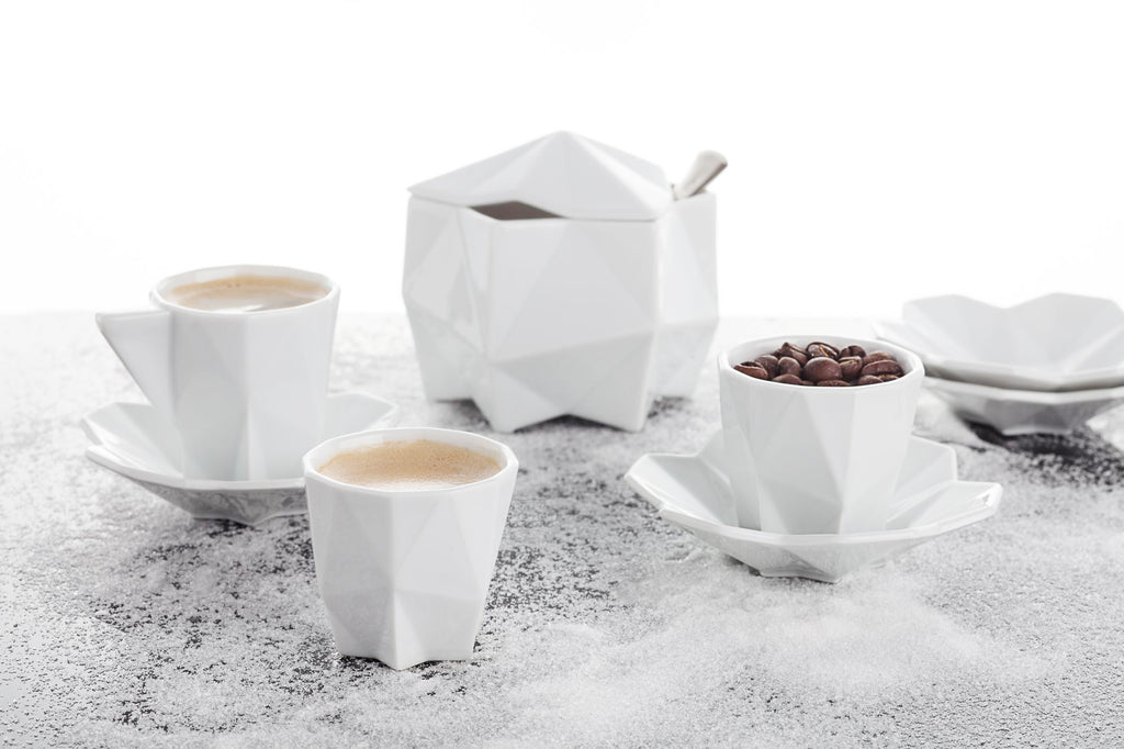 Geometric white ceramic tea set Lilia from Lauriger