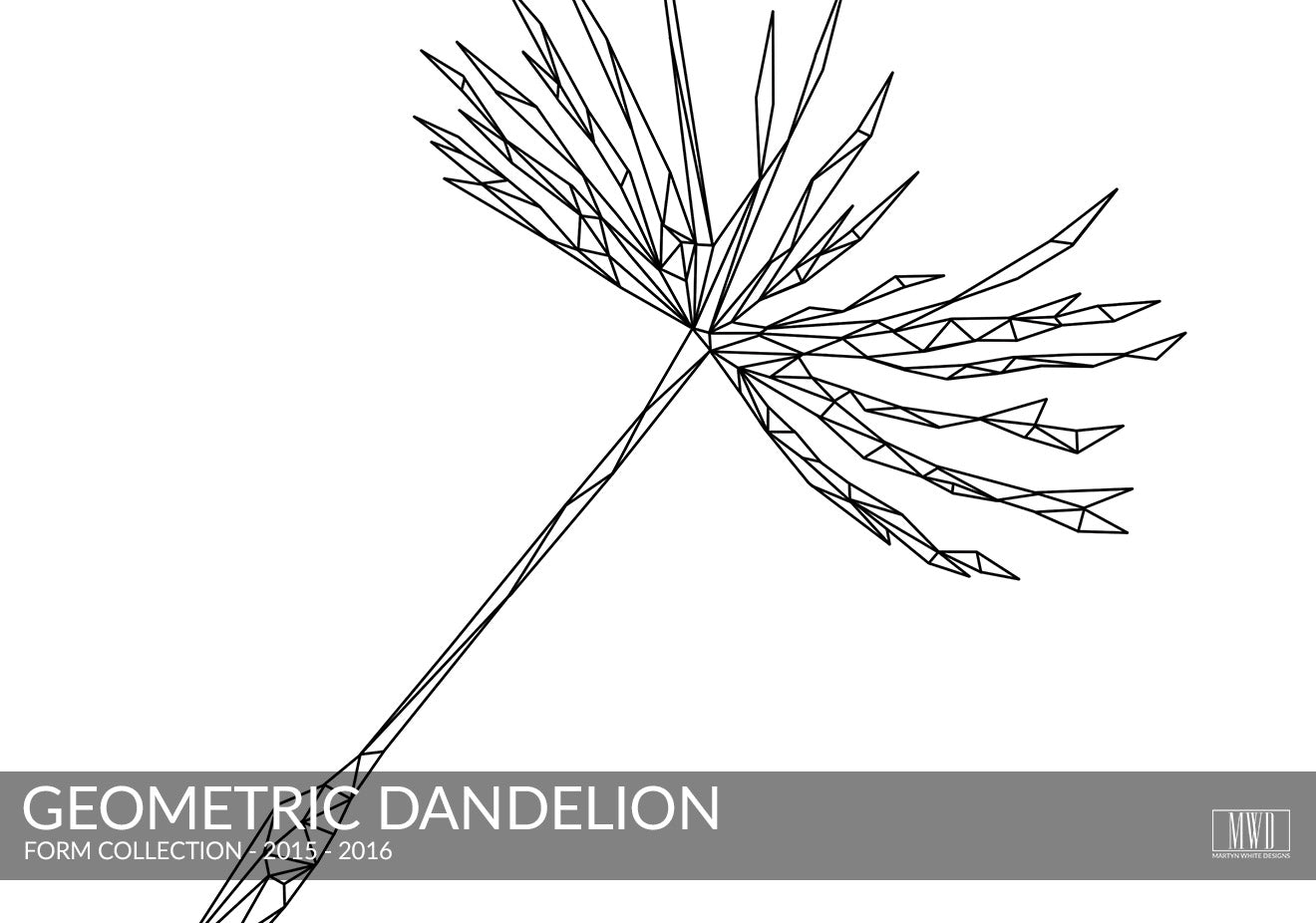 Geometric Dandelion seed black and white art print