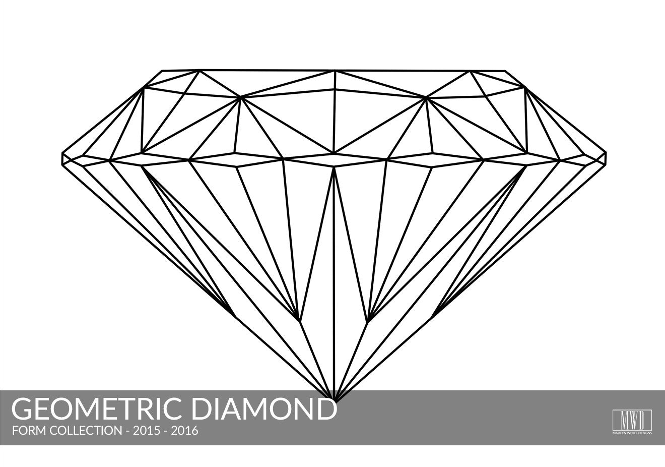 Geometric Diamond black and white art print