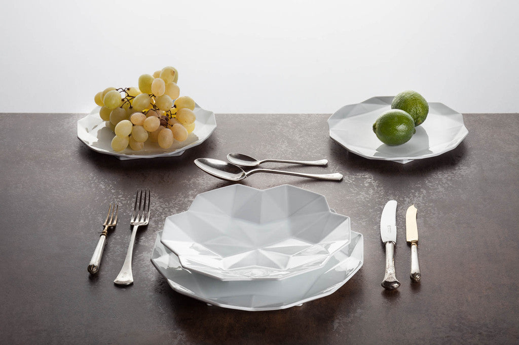 Geometric white ceramic dinner set
