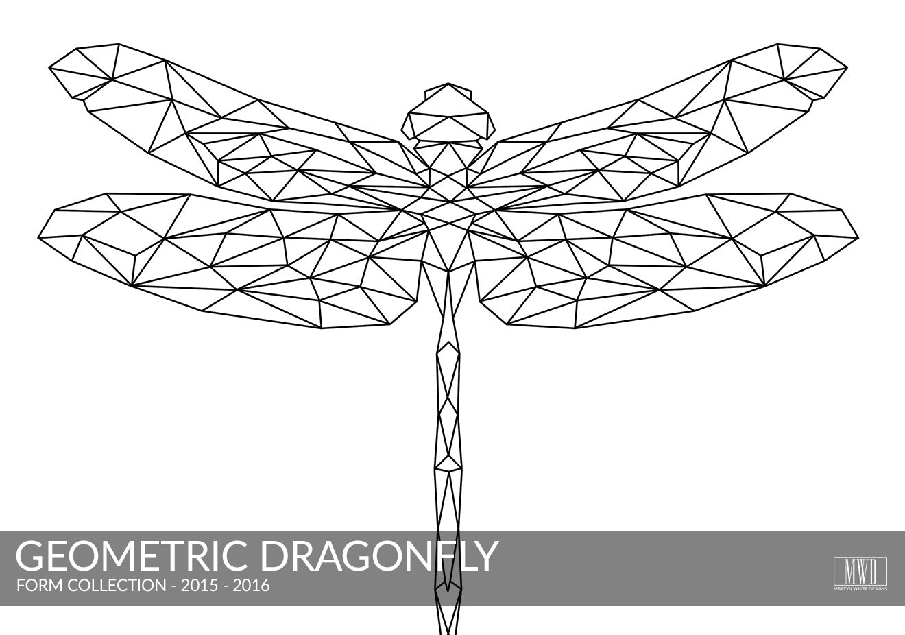 Geometric Dragonfly black and white art print