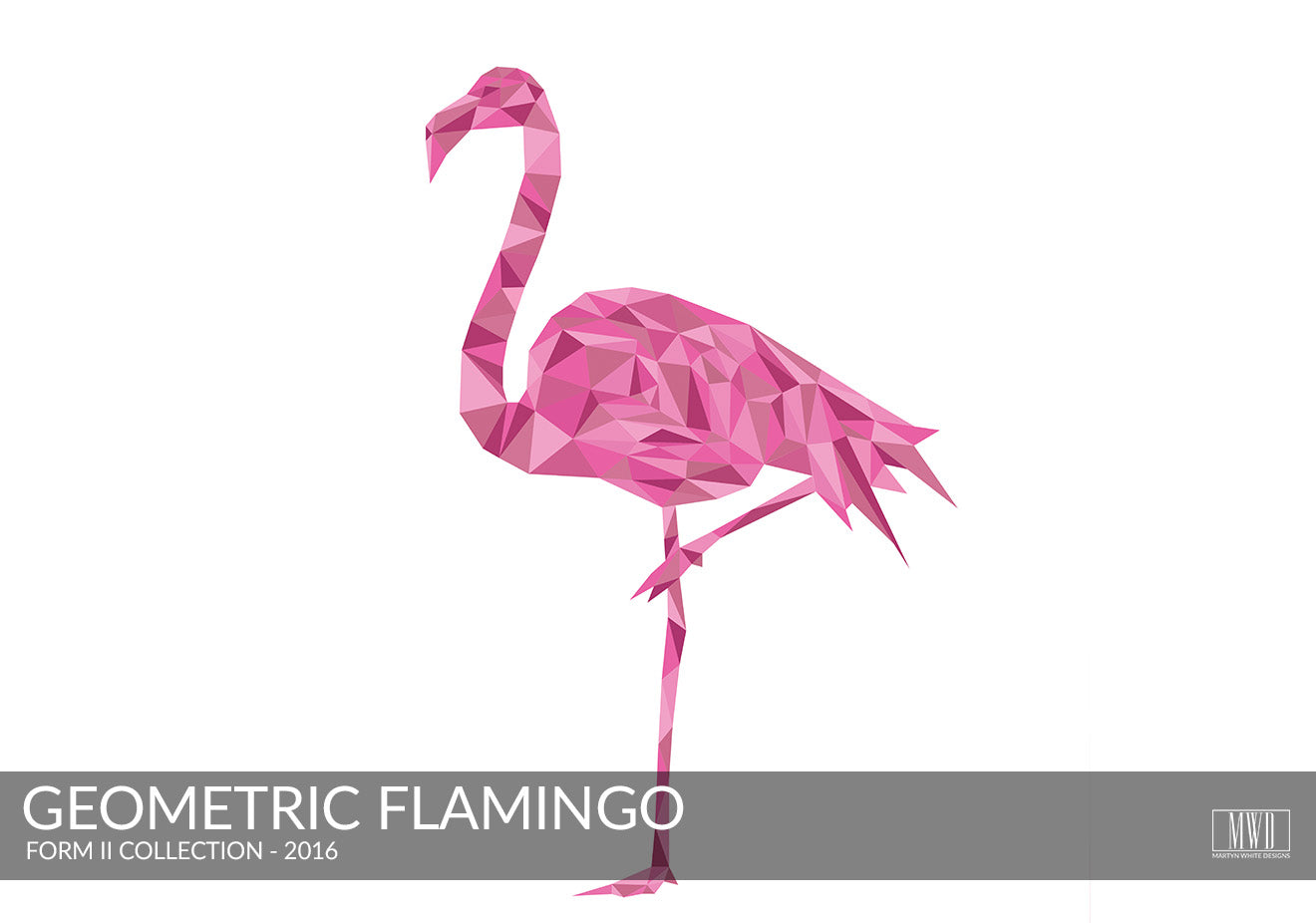 Abstract pink flamingo art print