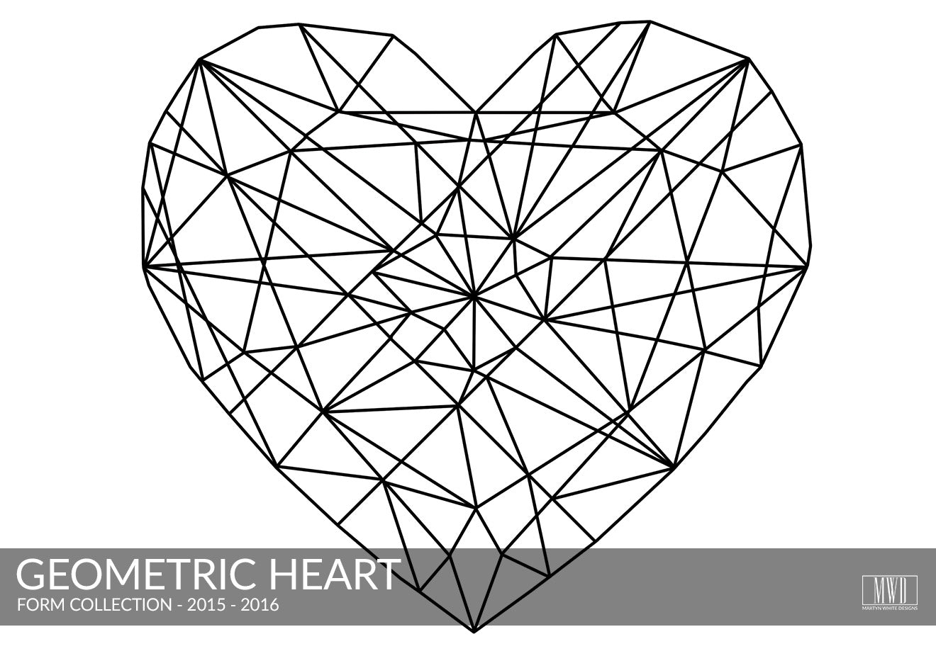 Geometric Heart black and white art print