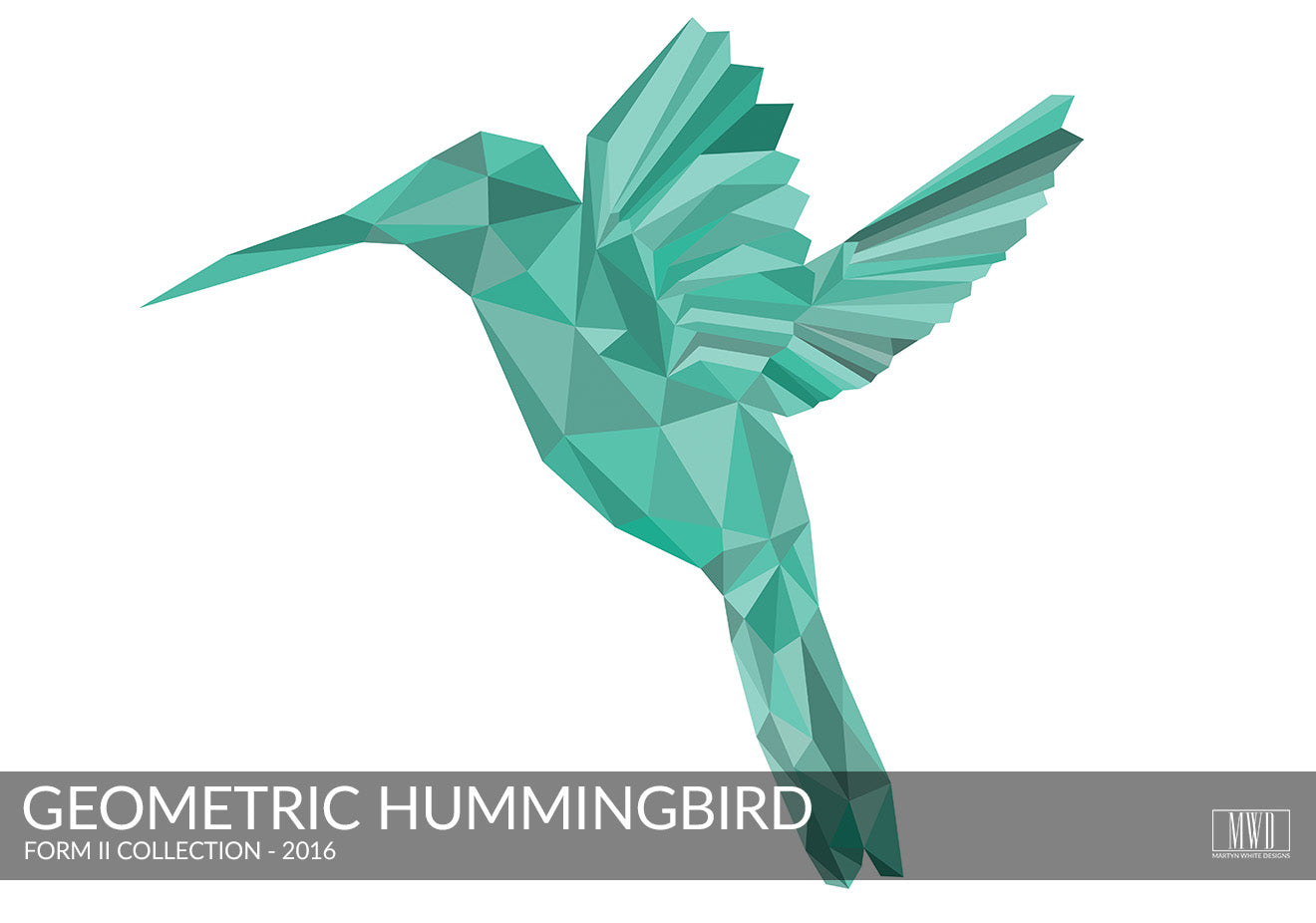 Form II Geometric Hummingbird in colour Art Print Portfolio