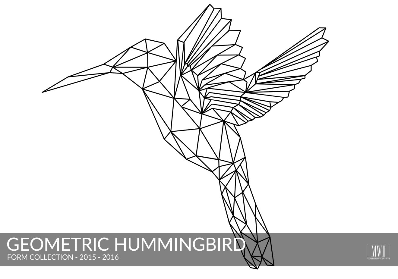 Geometric Hummingbird black and white art print