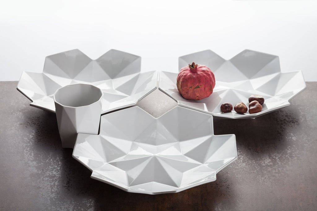 Geometric dinner set plates and bowls
