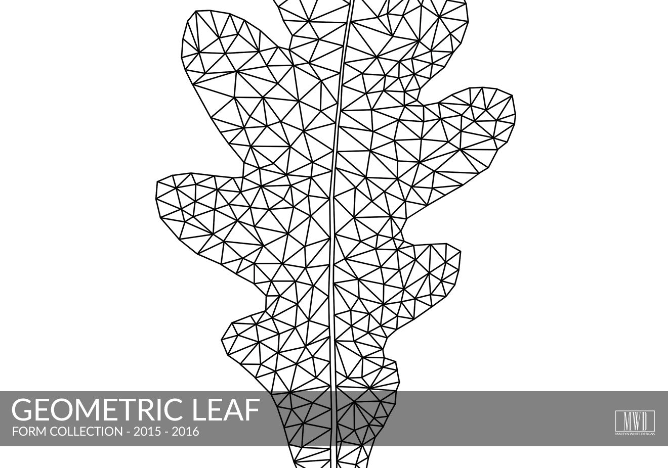 Geometric leaf black and white print