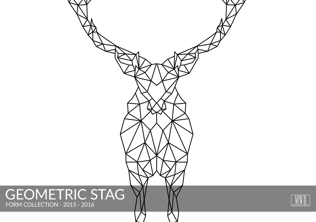 Geometric Stag black and white art print