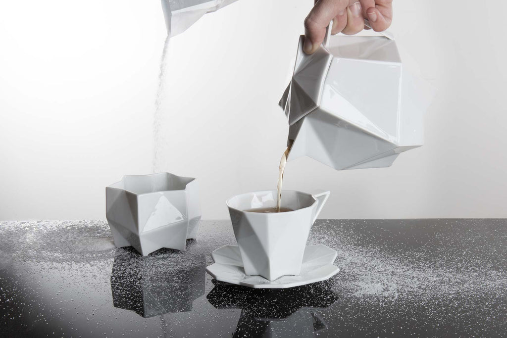 Geometric white ceramic tea set from Lauriger