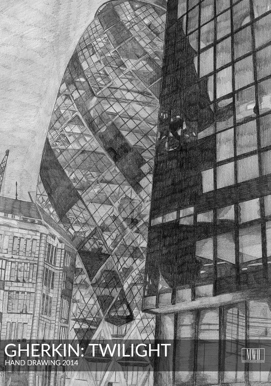 Gherkin Skyscraper London Hand Drawing