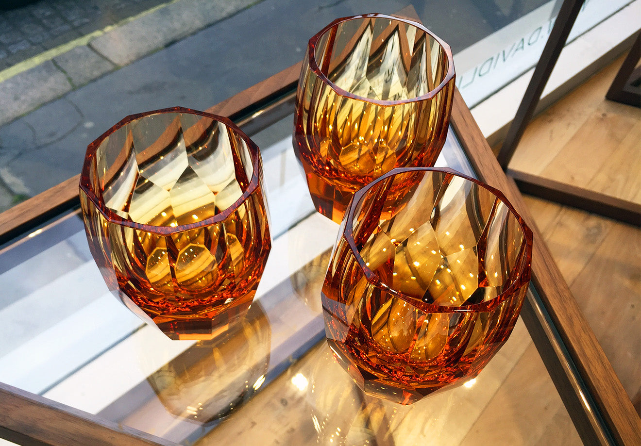 Topaz crystal tumblers part of the Girih collection from LINLEY