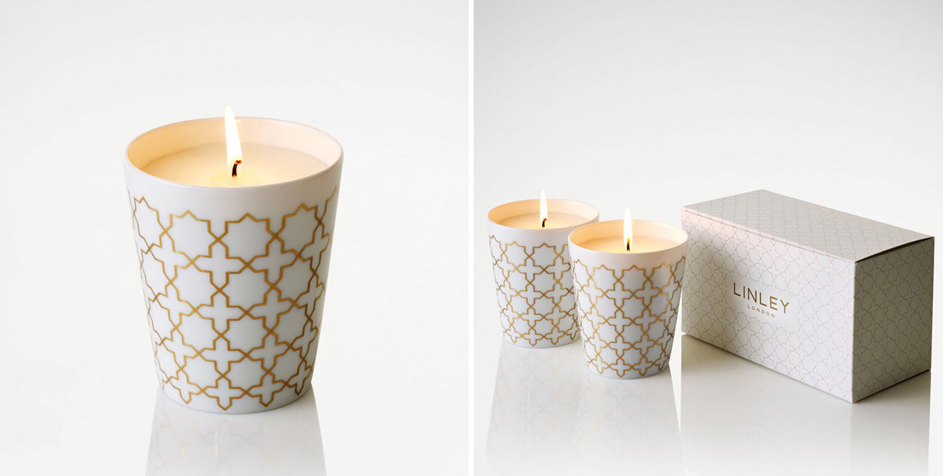 LINLEY London luxury candle set of Islamic inspired geometric gold hand painted print