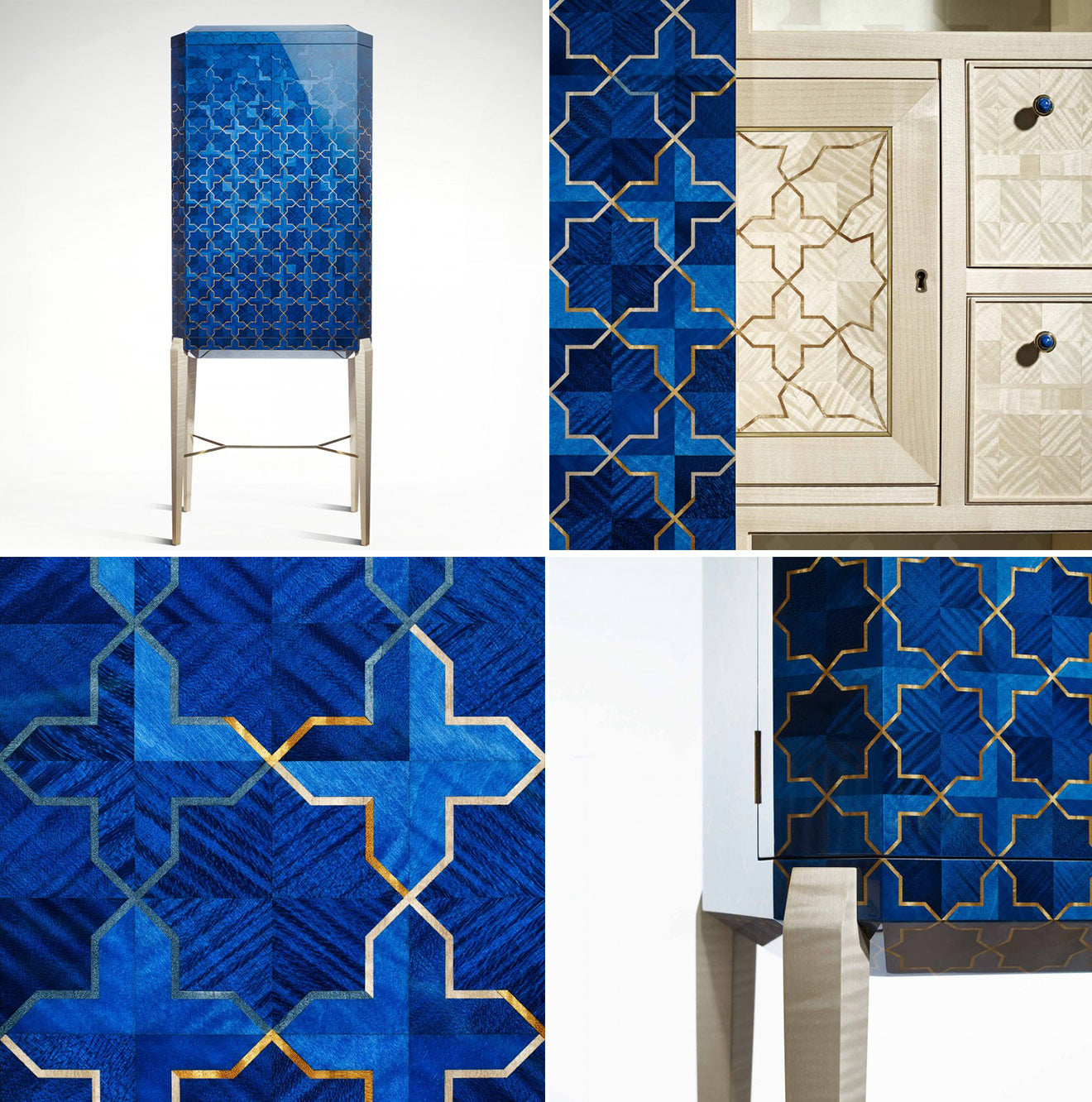 Blue islamic inspired luxury furniture design from LINLEY Girth treasure chest furniture