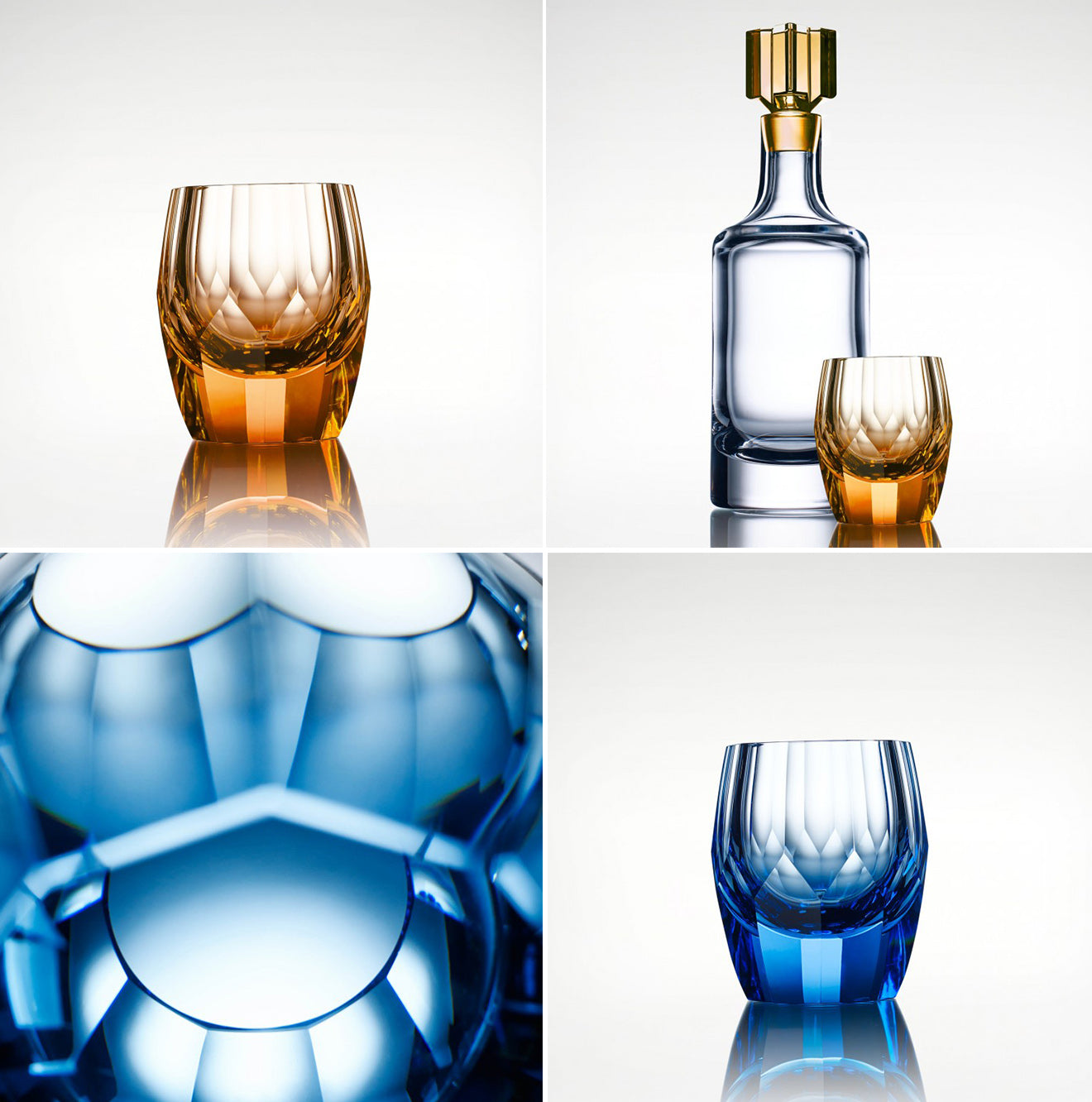 Luxury glassware from LINLEY hand cut and created designs from the Girih collection