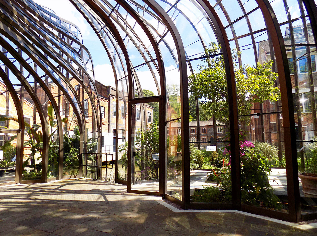 Modern glass architecture at the Bombay Sapphire distillery designed by Thomas Heatherwick