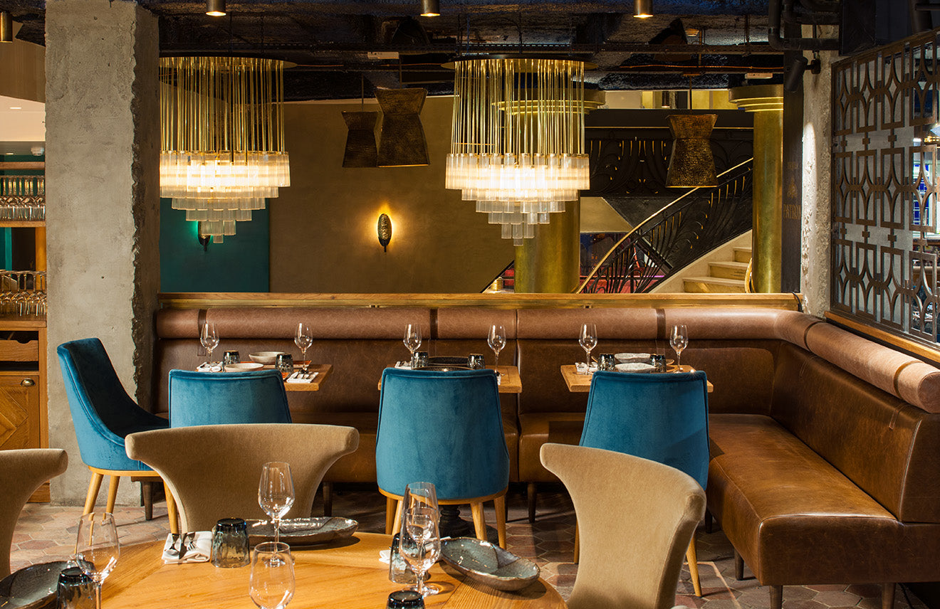 gold restaurant and bar, luxurious interior designs from Laura Gonzalez
