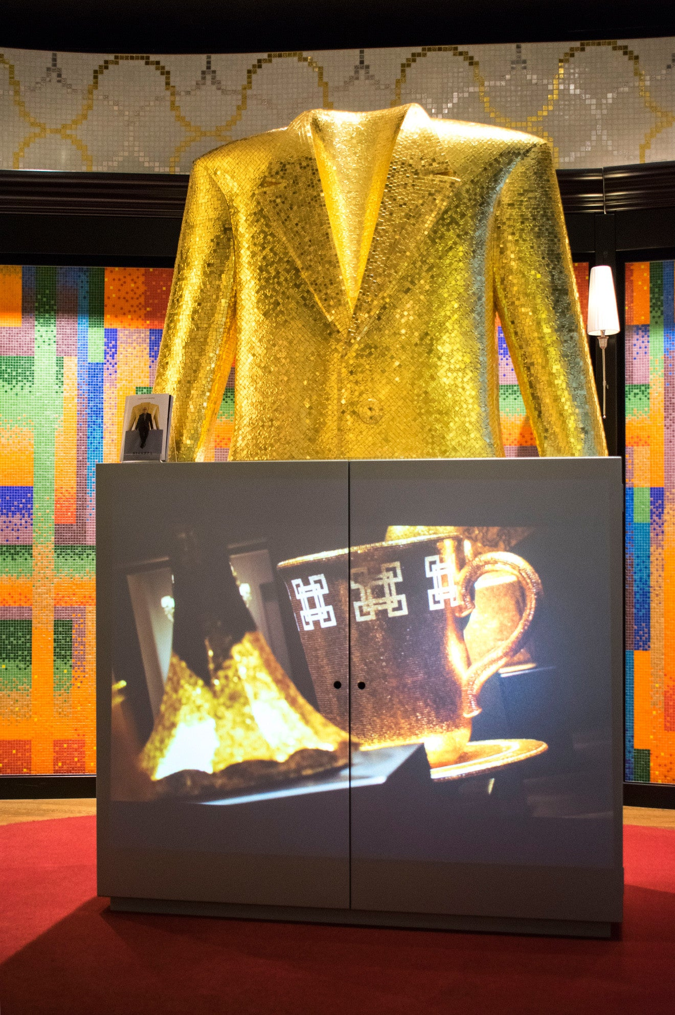 Alessandro Mendini Bisazza gold tile suit sculpture