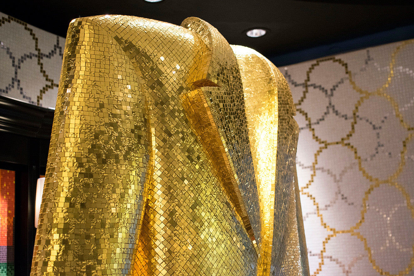 Alessandro Mendini Bisazza gold tiled suit sculpture