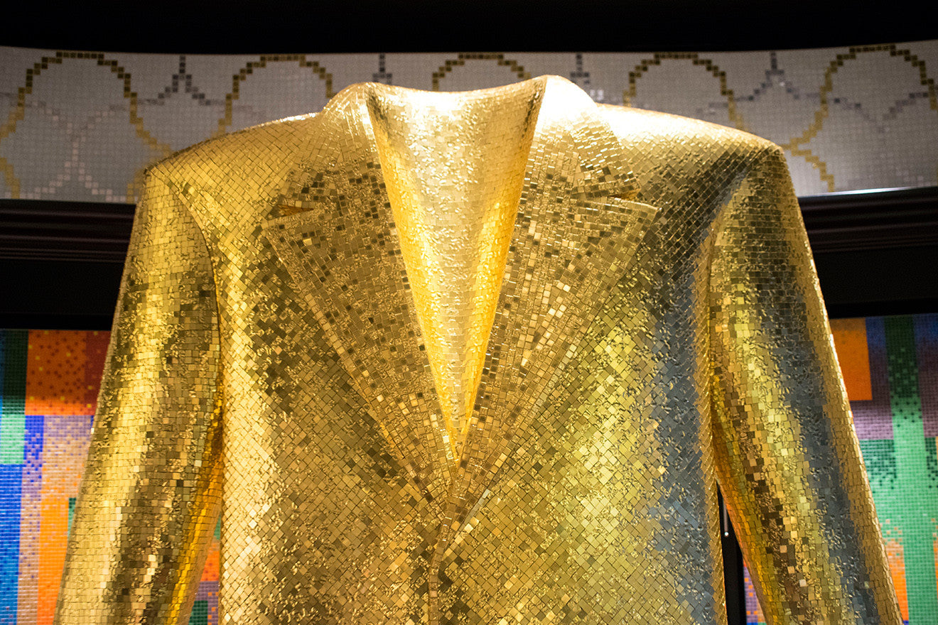 Golden suit jacket sculpture Bisazza