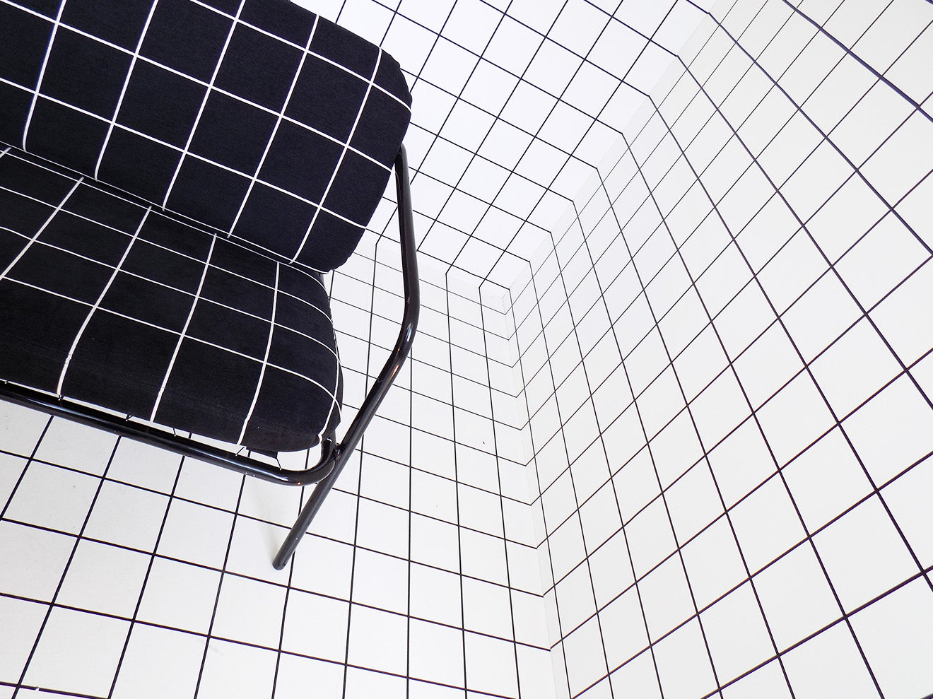 monochrome grid furniture display from Kirk By Design