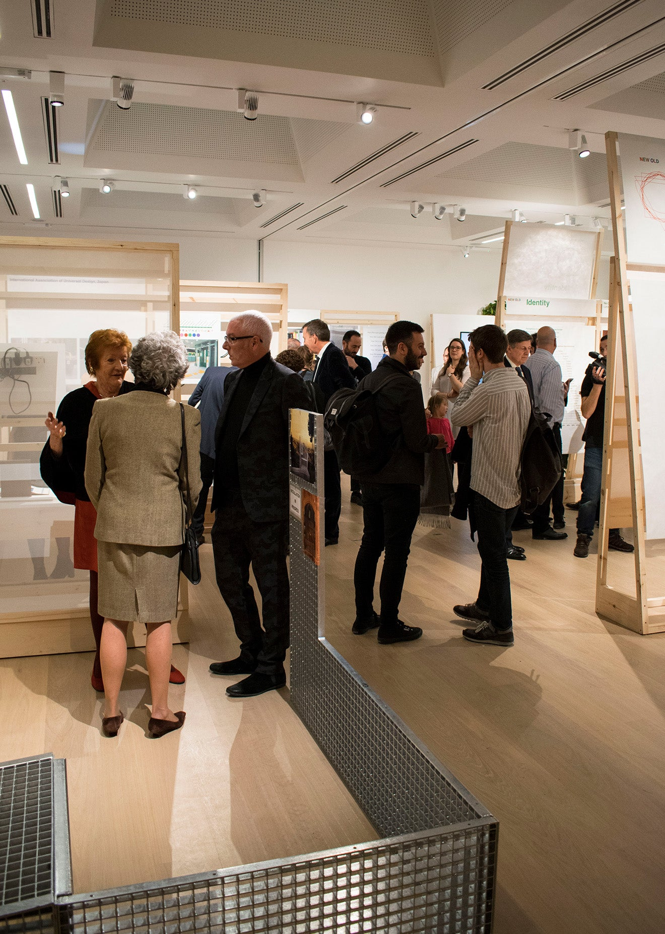 Guests arrive to the opening of the New Old pop up exhibition at the Design Museum