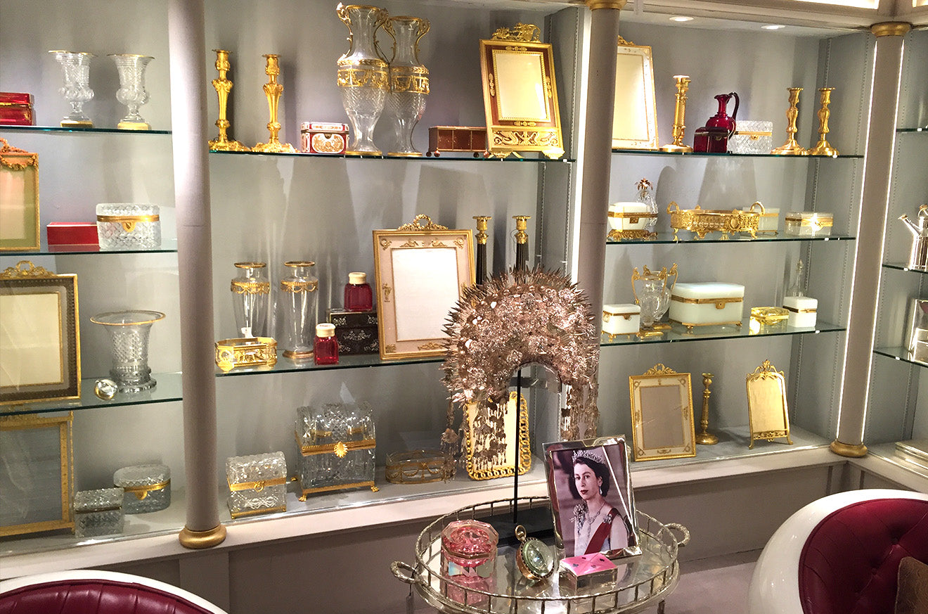 antiques display of picture frames and accessories at Guinevere London