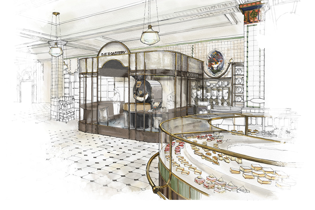 Harrods Bakery and Roastery visualisation by David Collins Studio