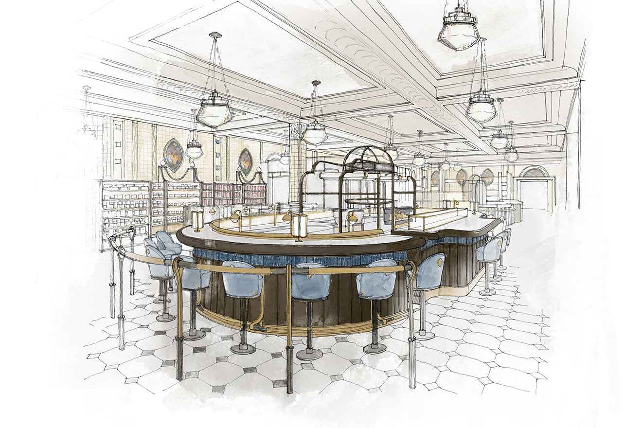 Harrods Bakery and coffee bar visualisation by David Collins Studio