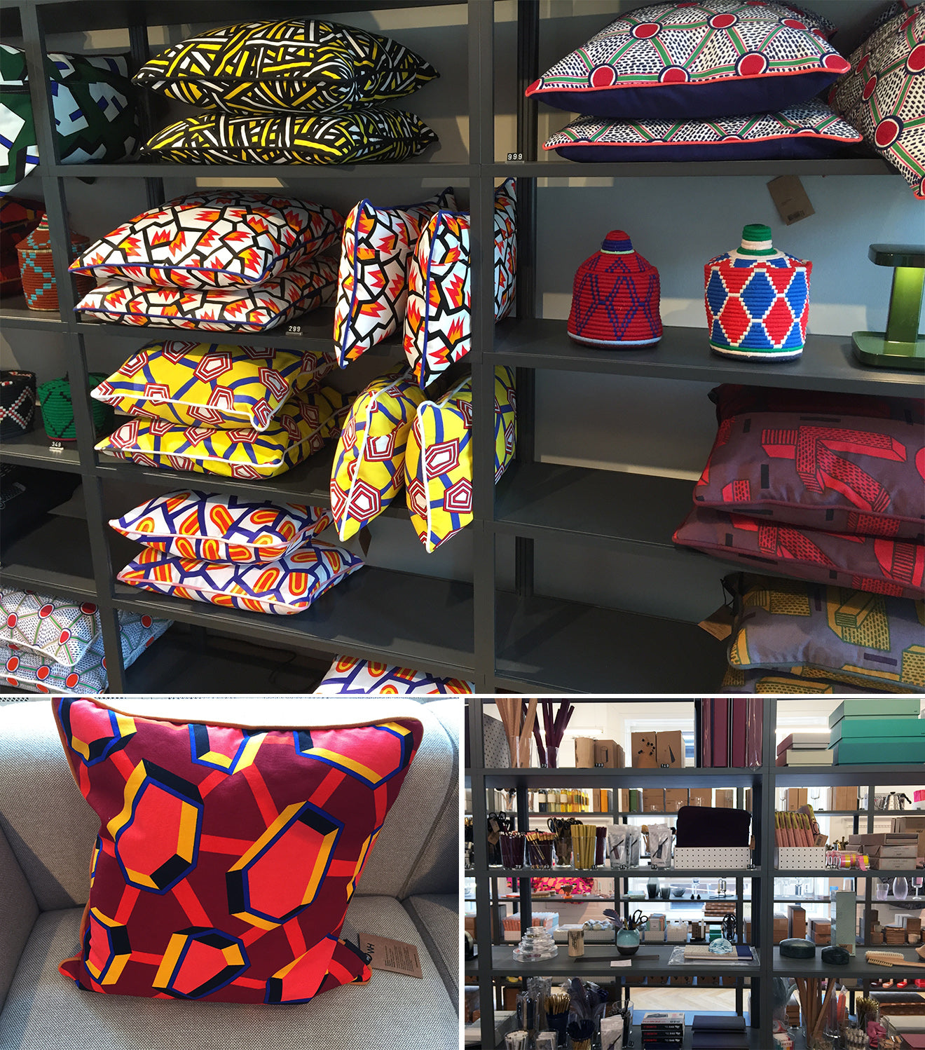 Hay vibrant patterned cushions at their Copenhagen store