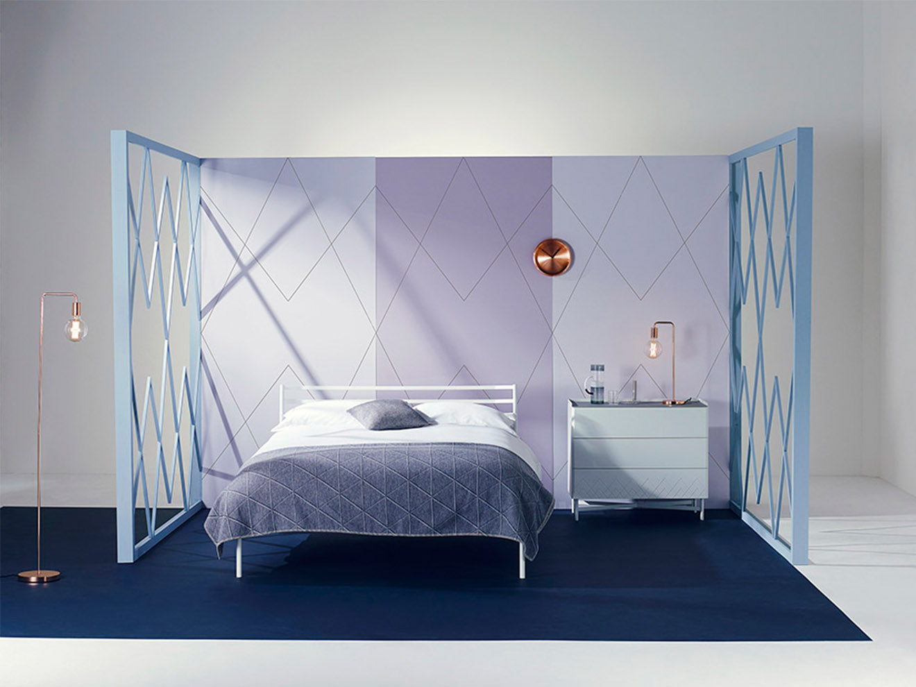 Heal's Dodie bedroom design with modern art deco detailing