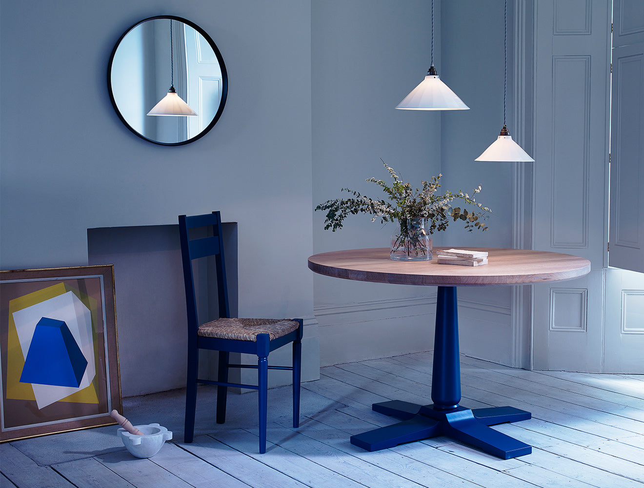 Heal's Pinner circular dining table and chairs