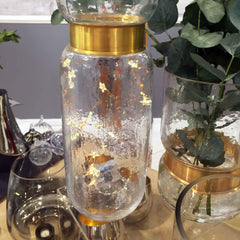 Heals AW15 collection cracked glass jar with gold rim and lights